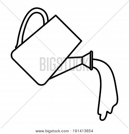 sketch silhouette watering can spilling water vector illustration