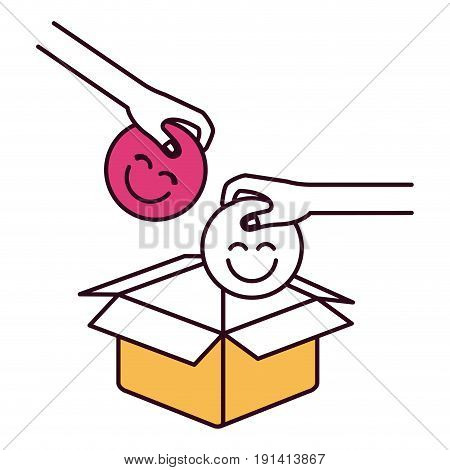 silhouette color sections pair hands holding a happy faces symbol to deposit in cardboard box vector illustration