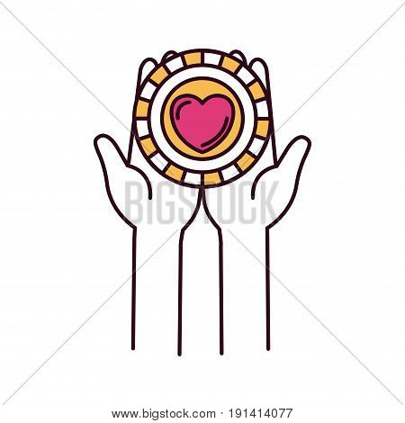silhouette color sections front view hands holding in palms a coin with heart shape inside charity symbol vector illustration