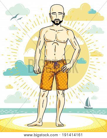 Handsome bald adult man with stylish beard standing on tropical beach in bright shorts. Vector nice and sporty man illustration. Summertime theme clipart.