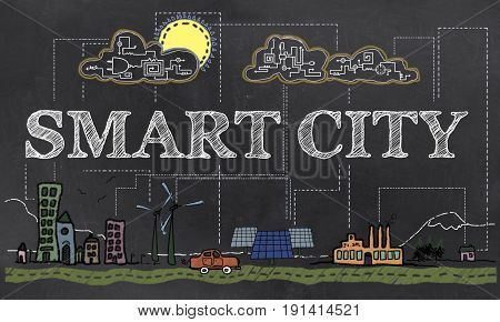 Smart City Technology Illustrated on old paper