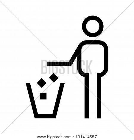 Tidy man symbol. Keep clean icon. Silhouette of a man throwing garbage in a bin isolated on white background. All in a single layer. Vector illustration. Elements for design.