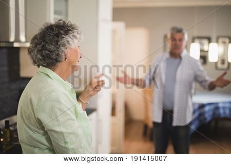 Angry senior couple talking to each other at home