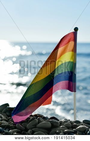 closeup of a small rainbow flag in a pole stuck in a shingle beach, with the ocean in the background