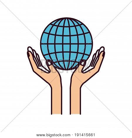 silhouette color sections hands with floating globe chart charity global symbol vector illustration