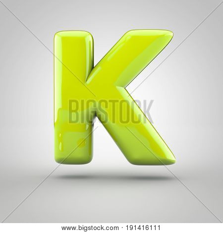 Glossy Lime Paint Letter K Uppercase Isolated On White Background