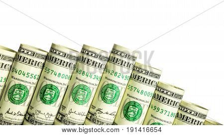 Rolled dollar banknote with white background isolated money staircase