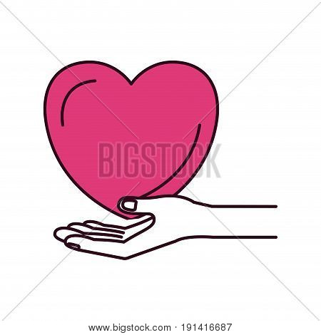 silhouette color sections hand palm giving a heart charity symbol vector illustration