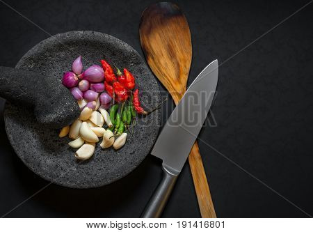 Traditional Stone Motar & Pestle From Asia With Spicy Ingredients.