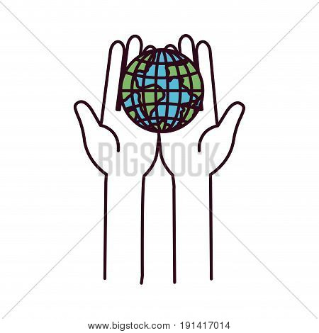 silhouette color sections front view hands holding in palms a earth globe world charity symbol vector illustration