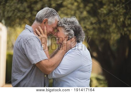 Side view of happy senior couple standing face to face in backyard