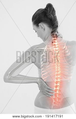 Digitally generated image of woman suffering from muscle pain against white background