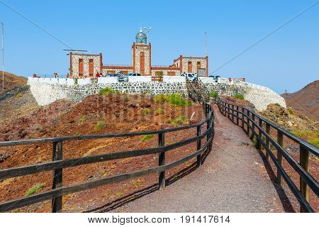 Las Playitas, Fuerteventura, April 02, 2017: Lighthause Faro De La Entallada Near Las Playitas, Fuer
