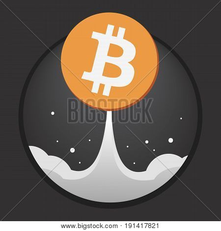 Coin bitcoin is like a Rocket with a plume against the dark sky. Dark background. Editable eps10 vector.