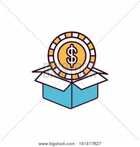 silhouette color sections coin with dollar symbol inside coming out of cardboard box vector illustration