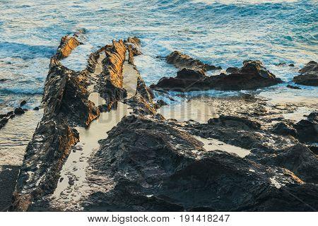 Shot Of Coast At Lanzarote, El Golfo, Lanzarote, Spain