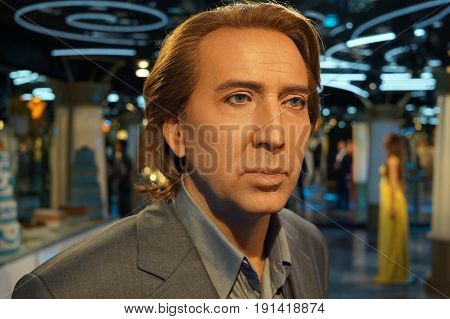 May 8. 2017 Museum of wax statues Grevin in the capital of the Czech Republic in Prague: Nicolas Cage - Actor