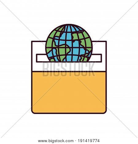 silhouette color sections front view flat globe earth world depositing in a carton box vector illustration