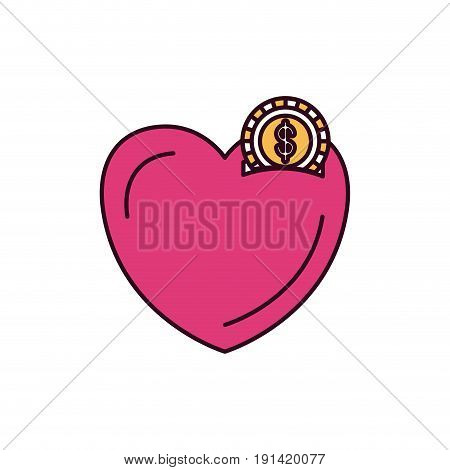 silhouette color sections money box in heart shape with coin with dollar symbol vector illustration