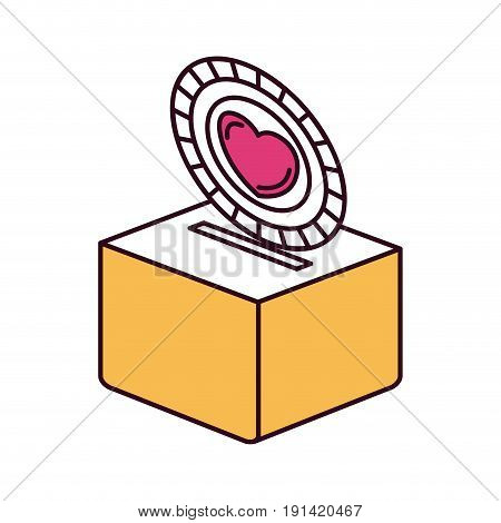 silhouette color sections flat coin with heart symbol inside depositing in a carton box vector illustration