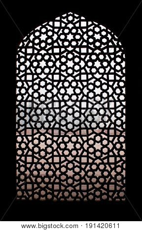 Texture of stone grating at Humayun's Tomb in New Delhi, India