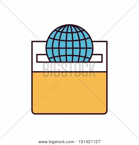 silhouette color sections front view flat globe earth world chart depositing in a carton box vector illustration