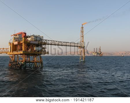 Oil Production Platform Offshore in the Gulf of Suez Sinai Coast