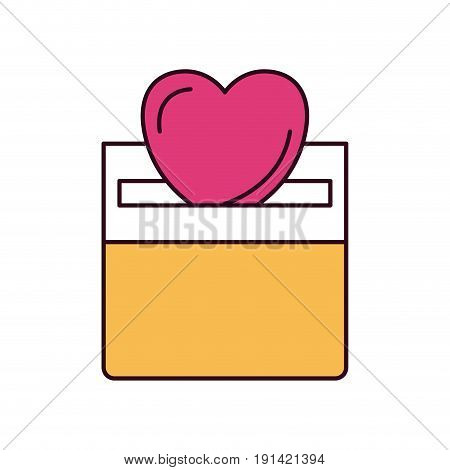 silhouette color sections front view flat heart depositing in a carton box vector illustration
