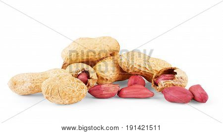 peanuts isolated on white background fruit, product, nutrients