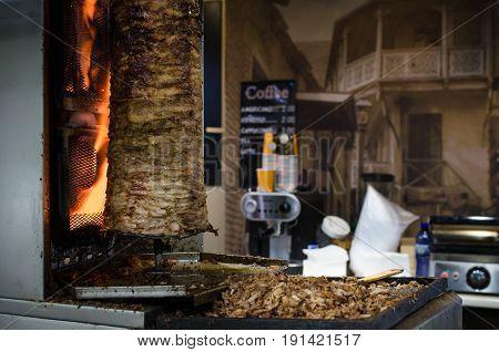 Preparation Of Arabic Shaurma In Turkey. Tasty Shawerma Meat Grilled On Fire