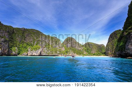 Maya bay at Andaman sea Krabi province southern of Thailand. Maya bay is very popular place for tourist to visit
