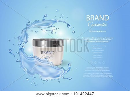 Cream box on a blue background of water with a splash. Premium ads, skin moisturizer, hydrating mask . Stock vector illustration.