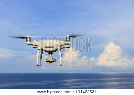 Phuket, Thailand - May 9 : Drone Quadcopter Dji Phantom 4 Pro With 4K Digital Camera While Flying Ov