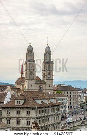 Grossmunster With Town Hall Of Zurich, Switzerland