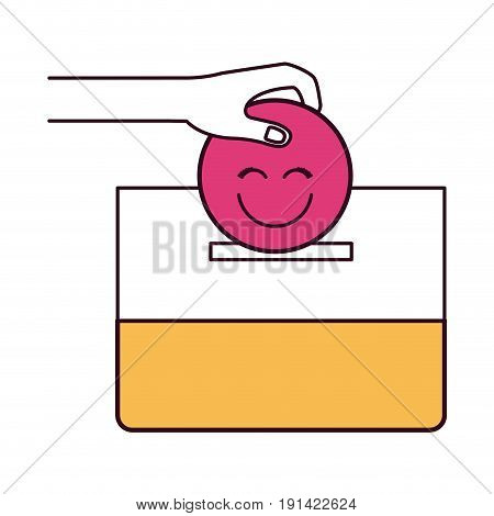 silhouette color sections front view hand with flat happy face depositing in a carton box vector illustration
