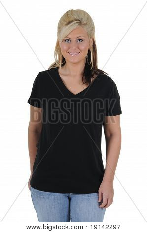 Pretty Woman Wearing A Plain Black Tee Shirt