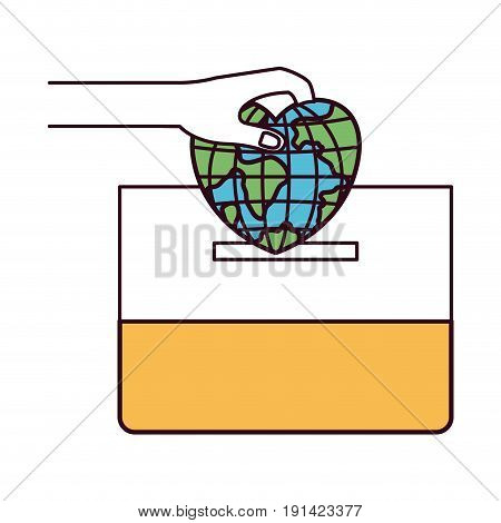 silhouette color sections front view hand with flat globe earth world in heart shape depositing in a carton box vector illustration