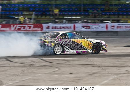 Lviv Ukraine - June 4 2016: Unknown rider on the car brand Honda overcomes the track in the championship of Ukraine drifting in Lviv Ukraine.