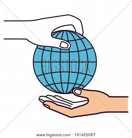 silhouette color sections side view of palm human holding a globe chart to deposit in other hand vector illustration