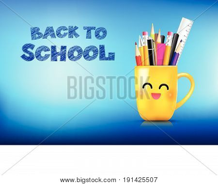 Yellow stationary in happy smile cartoon ceramic mug with pen pencil eraser marker on with calligraphy title back to school vector illustration eps10