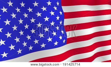 Bright USA flag background. Realistic fluttering flag with shadows. Vector, eps 10.