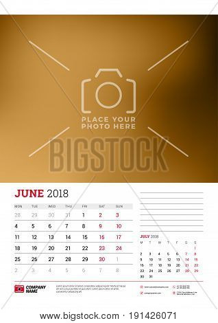 Wall Calendar Planner Template For 2018 Year. June, July. Vector Design Print Template With Place Fo