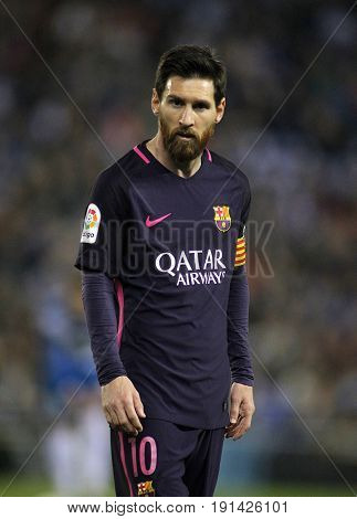 BARCELONA, SPAIN - APRIL, 29: Leo Messi of FC Barcelona during a Spanish League match against RCD Espanyol at the RCDE Stadium on April 29 2017, in Barcelona Spain