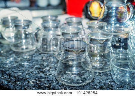 Variety of new empty shining glass jars