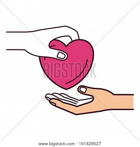 silhouette color sections side view of palm human holding a heart charity symbol to deposit in other hand vector illustration