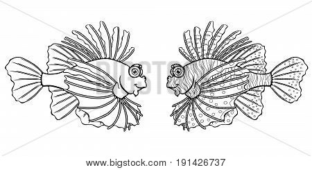 Friendly lionfish, the black planimetric drawing separately on a white background. Page coloring book. Manual vector illustration.