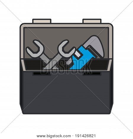 color image of opened plumbing toolbox vector illustration