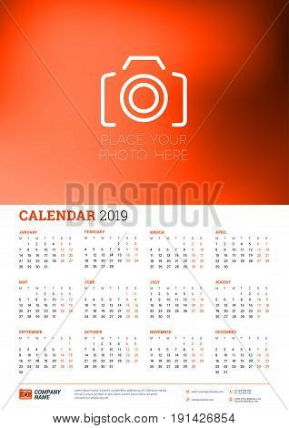 Vector calendar poster A3 size for 2019 Year. Week starts on Monday. Stationery design template with place for photo