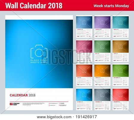 Wall calendar planner template for 2018 year. Set of 12 momths. Vector design print template with place for photo and cover. Week starts on Monday