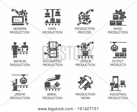 Big set of icons in flat style of automatic and manual production. 12 black web graphic pictograms. Symbols of business, modern machinery equipment concept. 64x64 Pixel Perfect